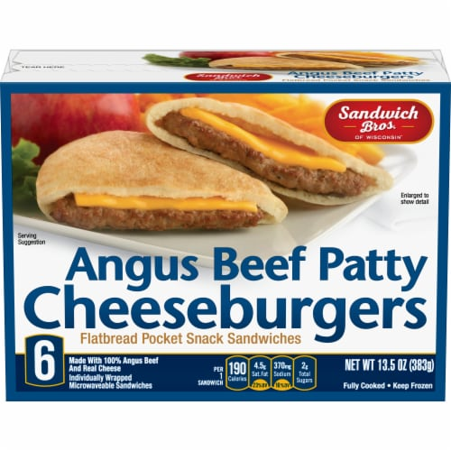 Sandwich Bros. Angus Cheeseburger Flatbread Pocket Sandwiches Perspective: front