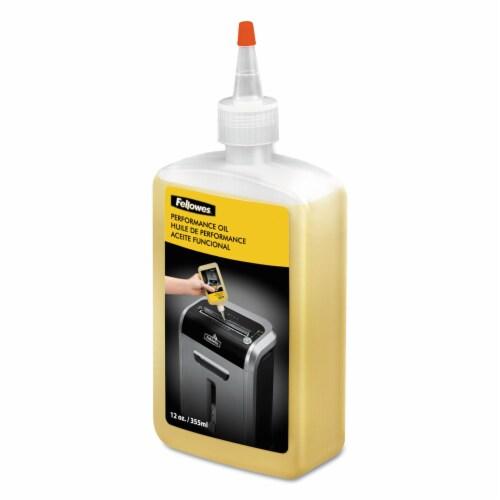 Fellowes Powershred® Shredder Oil - 12 Oz. Bottle - 12 oz - Light Amber Perspective: front