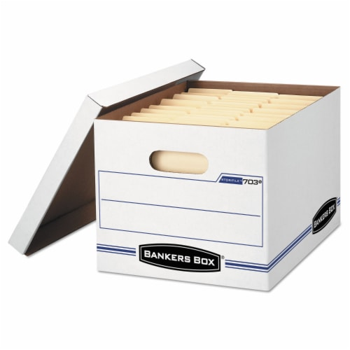 Stor/File Storage Box Letter/Legal Files 12.5  X 16.25  X 10.5  White 6 Per Pack | 1 Pack of: Perspective: front