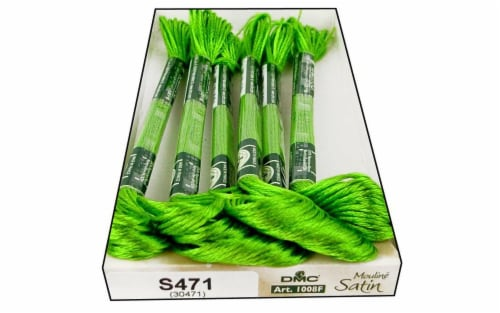DMC Satin Embroidery Floss Granny Smith Green Perspective: front