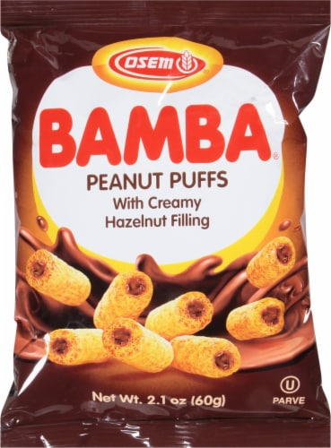Osem Bamba Peanut Snack with Hazelnut Cream Filling Perspective: front
