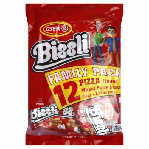 Osem Bissli Pizza Flavor Wheat Party Snacks Family Pack 12 Count Perspective: front