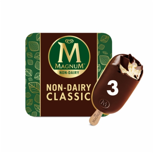 Magnum Vegan Non-Dairy Belgian Chocolate Dipped Classic Dessert Bar Perspective: front