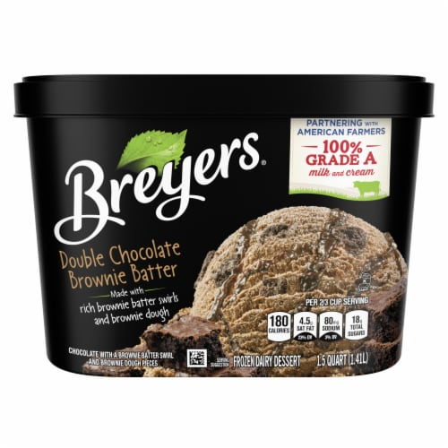 Breyers Double Chocolate Brownie Batter Ice Cream Perspective: front