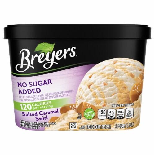 Breyers No Sugar Added Salted Caramel Swirl Frozen Dairy Dessert Perspective: front