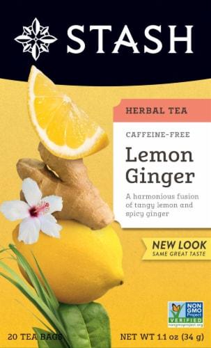 Stash Caffeine Free Lemon Ginger Herbal Tea Perspective: front