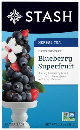 Stash Blueberry Superfruit Herbal Tea Bags Perspective: front