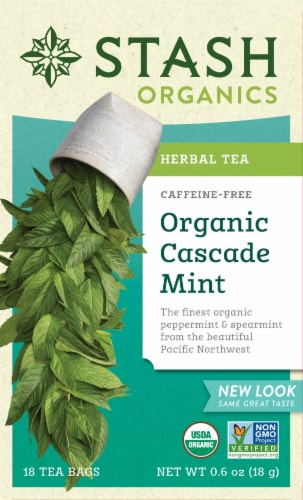 Stash Organic Cascade Mint Herbal Tea Perspective: front