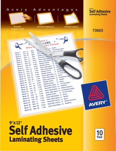 Avery Self Adhesive Laminating Sheets - 10 Pack Perspective: front