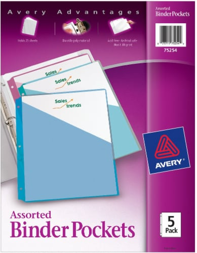 Avery Advantages Binder Pockets - Assorted Perspective: front
