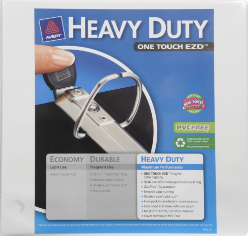 Avery Heavy Duty One Touch EZD Binder - White - 4 Inch Perspective: front