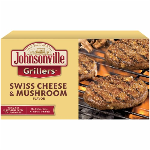 Johnsonville Grillers Swiss Cheese & Mushroom Flavored Patties Perspective: front