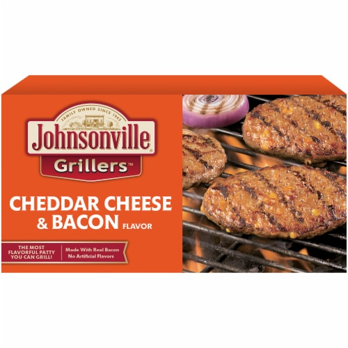 Johnsonville Grillers Cheddar Cheese & Bacon Flavored Patties Perspective: front