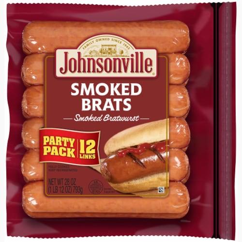 Johnsonville Smoked Bratwurst Pork Sausage Links Perspective: front