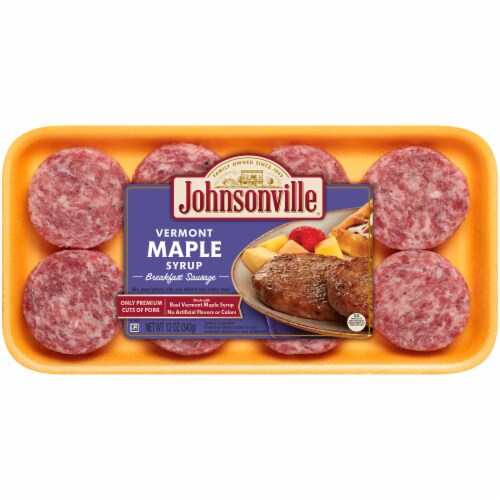 Johnsonville Vermont Maple Syrup Breakfast Sausage Patties 8 Count Perspective: front