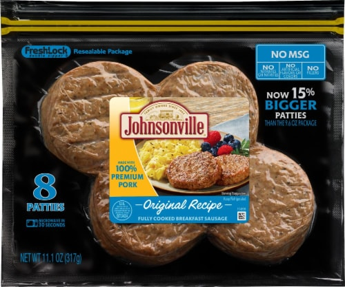 Johnsonville Original Recipe Fully Cooked Breakfast Sausage Patties Perspective: front