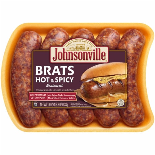 Johnsonville Hot & Spicy Bratwurst Perspective: front