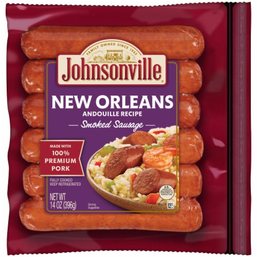 Johnsonville New Orleans Andouille Recipe Smoked Sausage Links Perspective: front