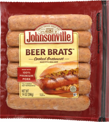 Johnsonville Beer Brats Cooked Bratwurst Perspective: front