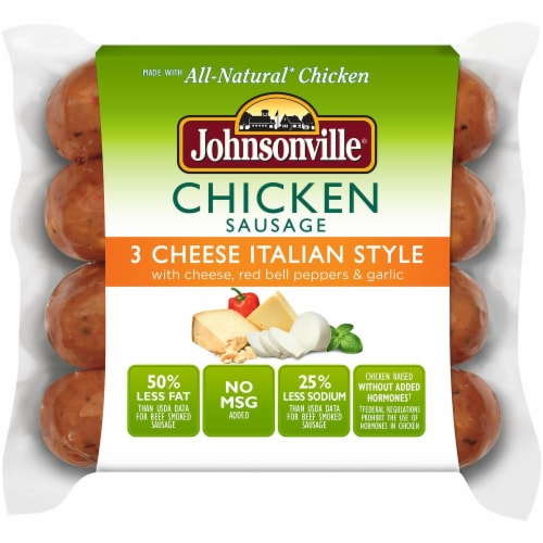 Johnsonville 3 Cheese Italian Style Chicken Sausages Perspective: front