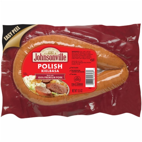 Johnsonville Polish Kielbasa Fully Cooked Pork Rope Sausage Perspective: front