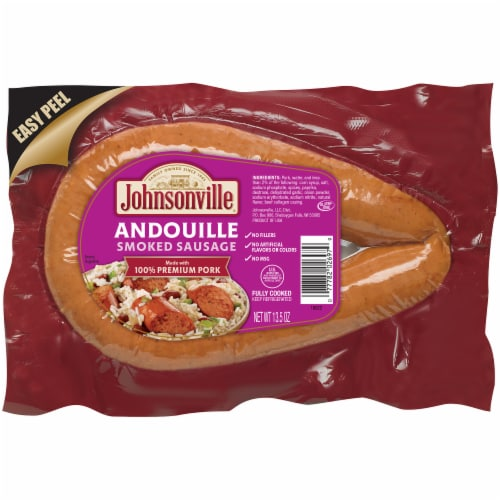 Johnsonville Andouille Smoked Pork Rope Sausage Perspective: front