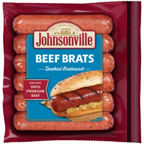 Johnsonville Beef Brats Smoked Bratwurst Perspective: front