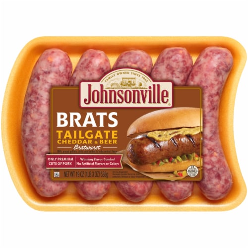 Johnsonville Brats Tailgate Cheddar & Beer Bratwurst Perspective: front