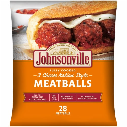 Johnsonville Fully Cooked 3 Cheese Italian Style Meatballs 28 Count Perspective: front