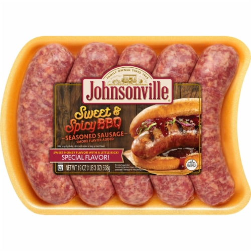 Johnsonville Sweet & Spicy BBQ Pork Sausage Links Perspective: front