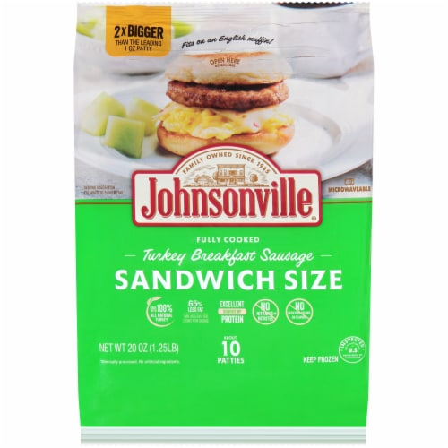 Johnsonville Fully Cooked Sandwich Size Turkey Breakfast Sausage Patties Perspective: front