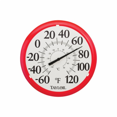 Taylor 6669584 13.25 in. Plastic Dial Thermometer, Red Perspective: front