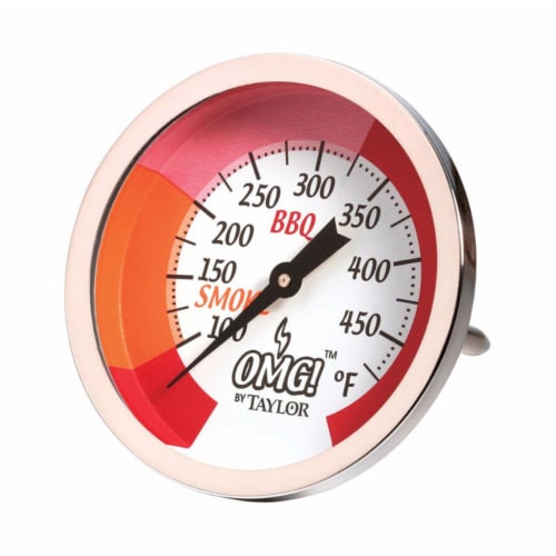 Taylor 8436867 100 deg F to 500 deg F Analog Grill Smoker Thermometer Perspective: front