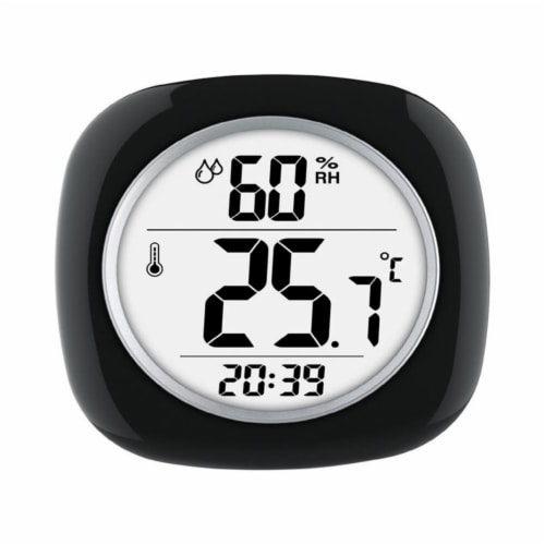 Taylor 6669386 Hygrometer, Temperature & Time Plastic Digital Thermometer, Black Perspective: front