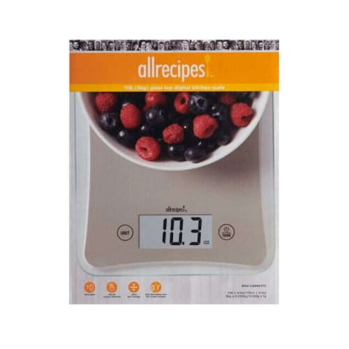 Allrecipes Glass Top Digital Kitchen Scale Perspective: front