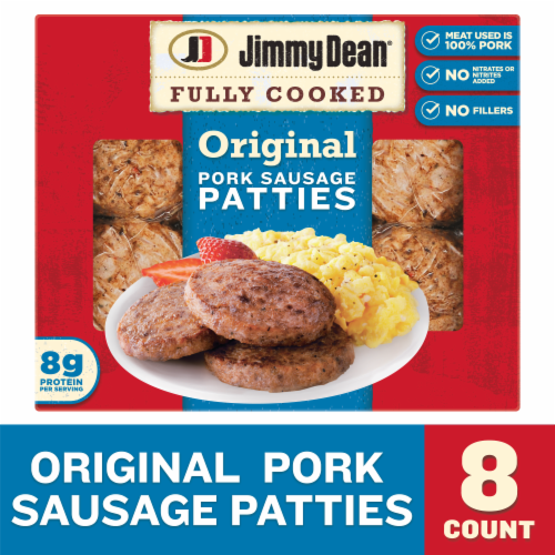 Jimmy Dean Fully Cooked Original Pork Sausage Patties Perspective: front