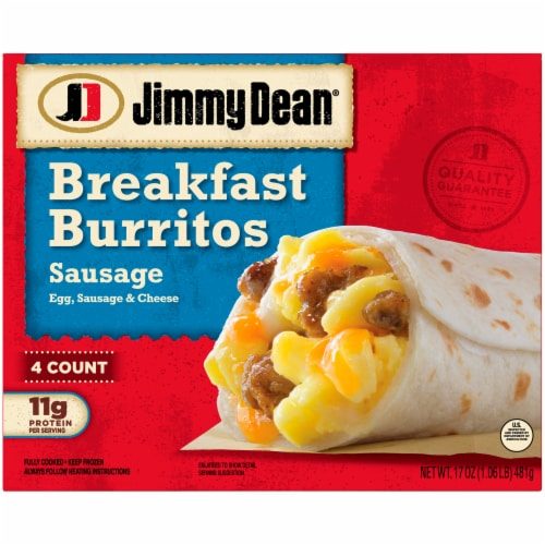 Jimmy Dean Sausage Egg & Cheese Breakfast Burritos Perspective: front