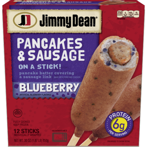 Jimmy Dean Blueberry Pancakes & Sausage on a Stick Perspective: front