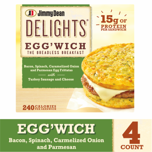 Jimmy Dean Delights Bacon Spinach & Onion Egg'wich Perspective: front