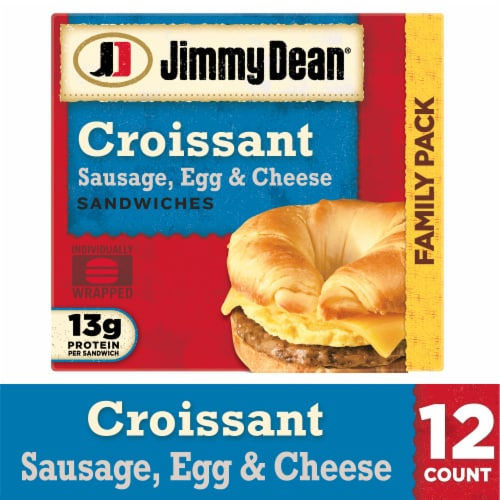 Jimmy Dean Sausage Egg & Cheese Croissant Sandwiches Perspective: front