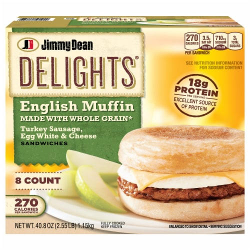 Jimmy Dean Delights Turkey Sausage Egg White & Cheese English Muffin Sandwiches Perspective: front