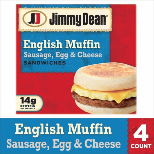 Jimmy Dean Sausage Egg & Cheese English Muffin Sandwiches Perspective: front