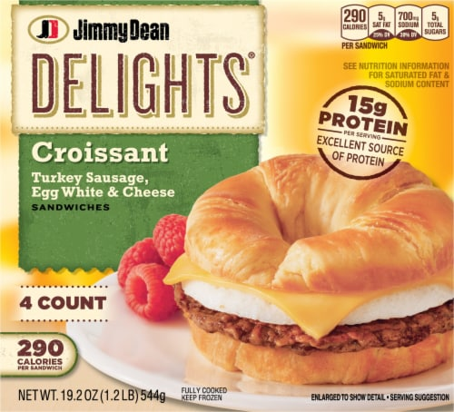 Jimmy Dean Delights Turkey Sausage Egg White & Cheese Croissant Sandwiches Perspective: front
