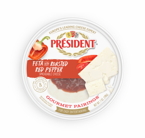 President Gourmet Pairings Feta with Roasted Red Pepper Spreadable Cheese Perspective: front