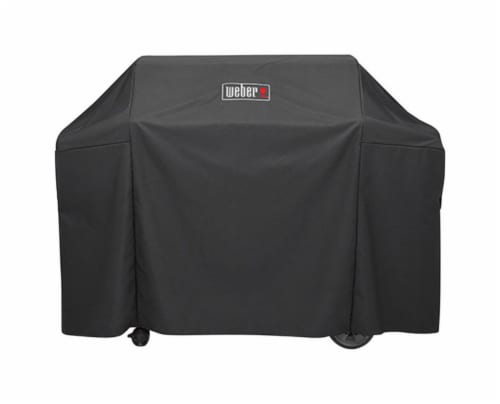 Weber Black Grill Cover For Genesis II and Genesis II LX 400 series gas grills 65 in. W x Perspective: front