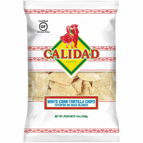 Calidad White Corn Tortilla Chips Perspective: front