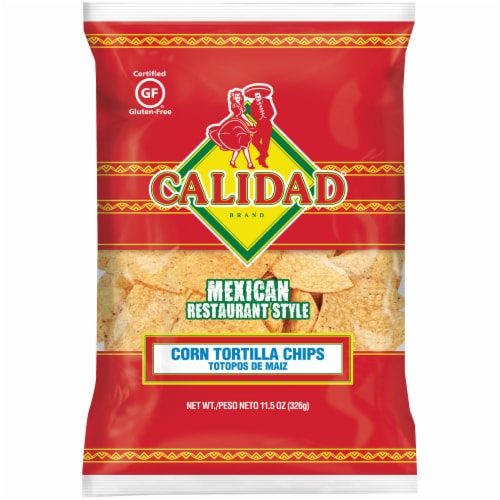 Calidad Mexican Restaurant Style Corn Tortilla Chips Perspective: front