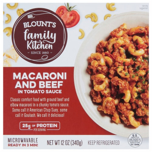 Blount's Family Kitchen Macaroni and Beef in Tomato Sauce Bowl Perspective: front