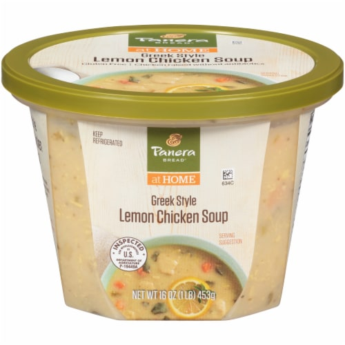 Panera Bread at Home Greek-Style Lemon Chicken Soup Perspective: front