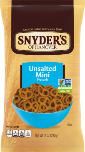 Snyder's of Hanover Unsalted Mini Pretzels Perspective: front